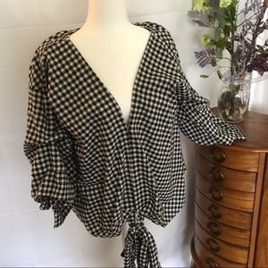 NWT open-front long-sleeve checked blouse size M